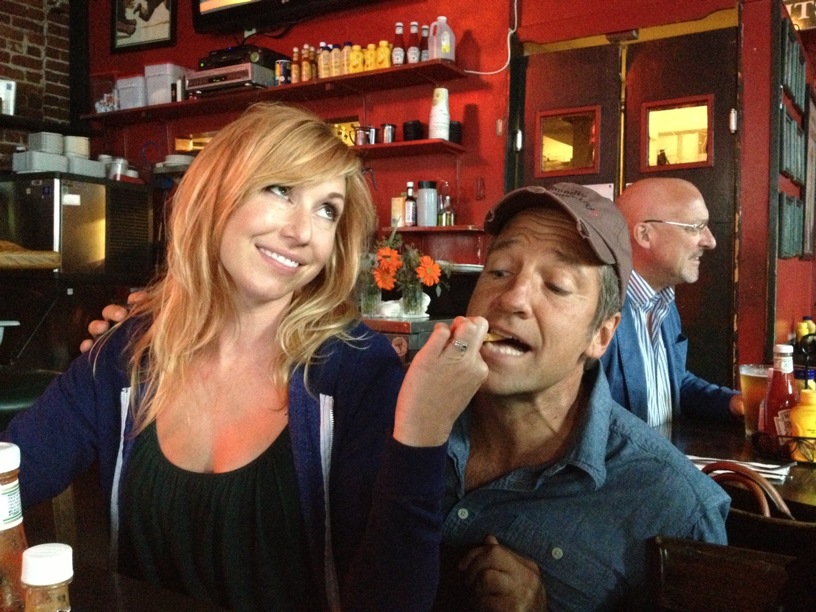 Sometimes, Kari Byron from MythBusters feeds me french fries. I don't mind. - Mike Rowe